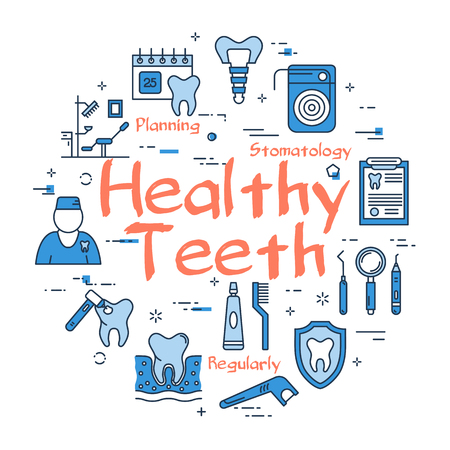 Blue round Healthy Teeth concept Illustration
