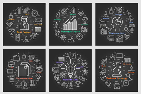 Six black business square banners - Idea, Strategy Vector illustration. Illustration