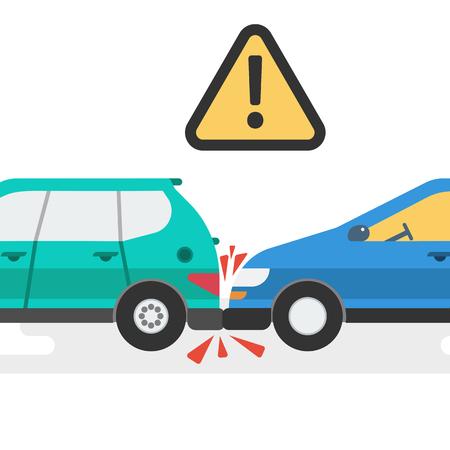 Twee auto's ongeval Vector illustratie. Stock Illustratie