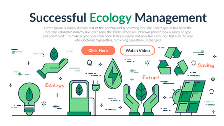 Vector linear web site header template of Successful Ecology Management. Horizontal banner on white background with outline icons of Ecology, eco system, future technology of saving resources Illustration