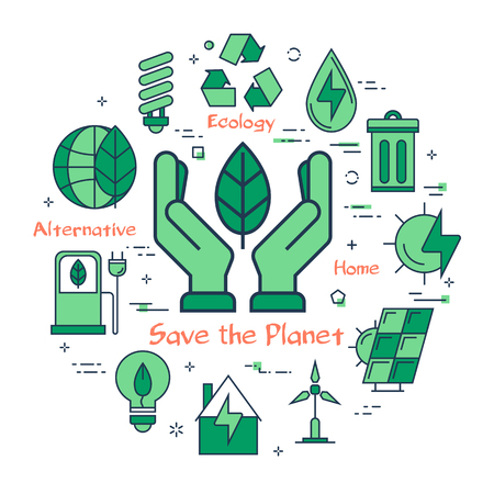 Vector linear green round concept of Save the Planet. Line icons of two palms holding a green leaf, as a symbol of caring for the planet