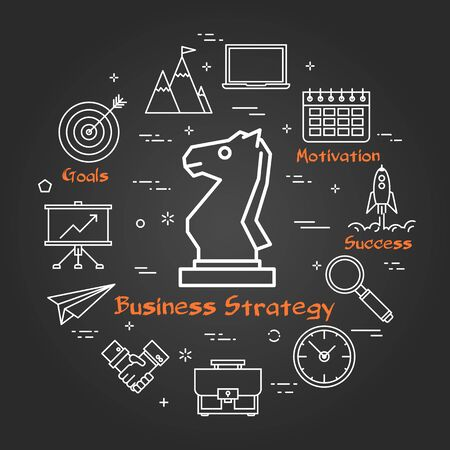 Vector linear round concept of Business Strategy. Thin line icons of chess knight, business planning and succesful technologies. Modern web banner on on black chalk board Stock Photo