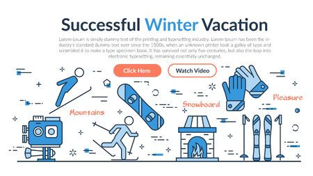 Vector linear web site header template of Successful Winter Vacation. Horizontal banner on white background with outline icons of action camera, snowboarding, skiing and gloves