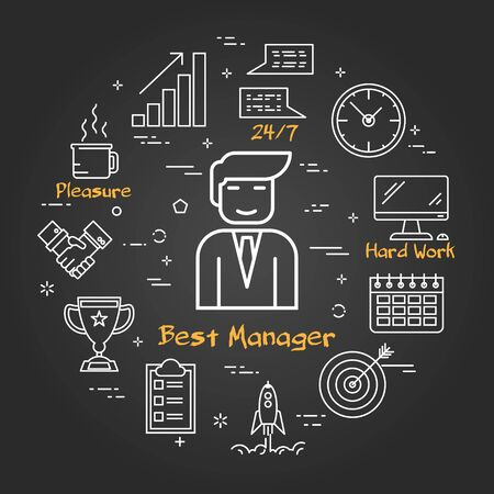 Vector linear round illustration of Businessman - Best Manager. Thin line icons of Online Male Technical Support and Leadership Concept. Modern web banner on on black chalk board