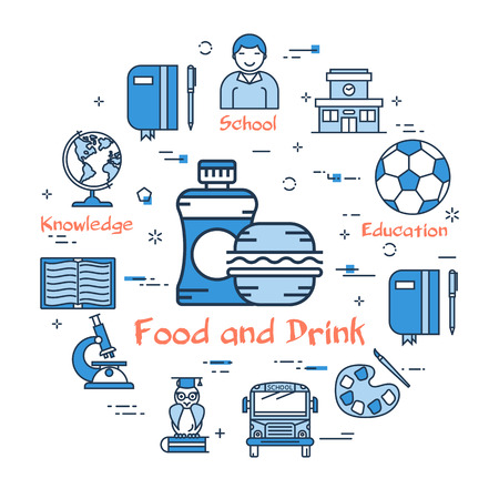 Vector linear blue round concept of Food and Drink school breakfast. Line icons of sandwich, bottle of water or drink for healthy pupils