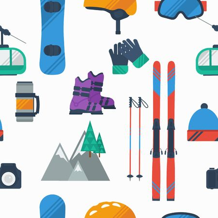 Vector seamless pattern with colored winter mountain sport items on white background