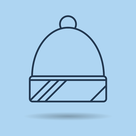 Vector isolated thin line icon of winter spotrswear - Hat. Winter sports, recreation and equipment Illustration