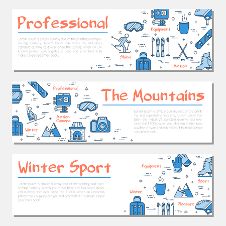 Blue three winter sport banners