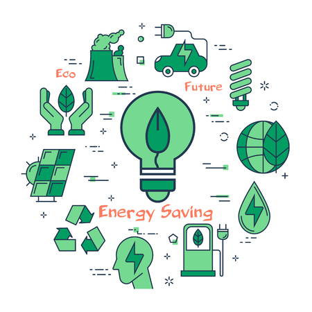 Vector linear green round concept of Eco Energy Saving Bulb. Line icons of electric buld with leaf inside, as a symbol of caring for the planet and economical use of resources