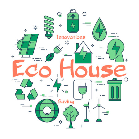 Green Eco House concept Illustration