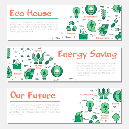 Three ecology horizontal banners