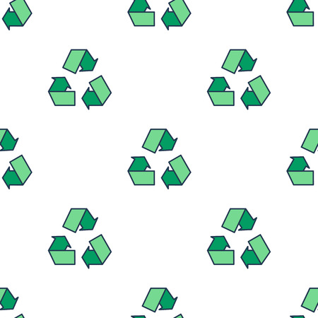 Seamless pattern with green eco reuse icon Illustration