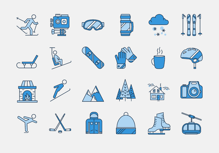 Vector set of 24 colored linear outline icons. Winter rest, sports, tourism and outdoor activities. Snowboard, skier, figure skating, action camera, mountains and house for vacations