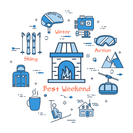Vector linear blue round concept of Best Weekend in Mountain. Line icons of home fireplace with fire, ski resort, equipment, outfit, action camera