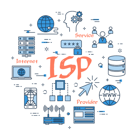 Vector linear blue round concept of Internet Service Provider. Red sign ISP and internet thin line icons, secure connection, transfer files and server data center Illustration