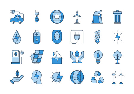 Vector set of 24 blue outline icons. Ecology, eco system, future technology of saving resources and clean planet Illustration
