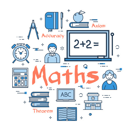 Vector linear blue round concept of Maths School Subject. Line icons of textbooks, a board with equations, students, theorems
