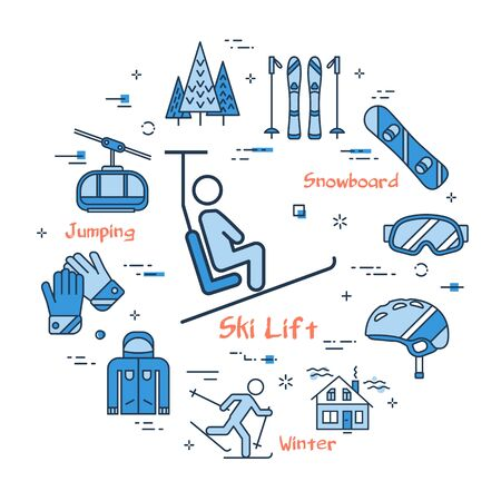Vector linear blue round concept of Mountain Ski Lift. Line icons of snowboard, ski, mountain, lift, forest and helmet