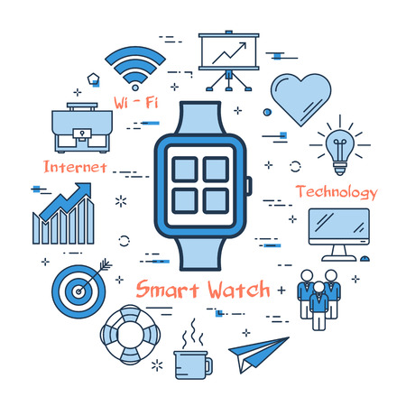 Vector linear Smart Watch Concept. New technology concept. Web round banner on white background Illustration