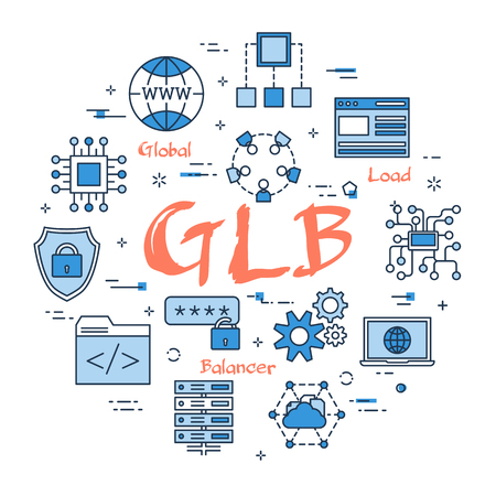 Vector linear blue round concept of Global Load Balancer. Red sign GLB and internet thin line icons, secure connection, transfer files and server data center Vettoriali