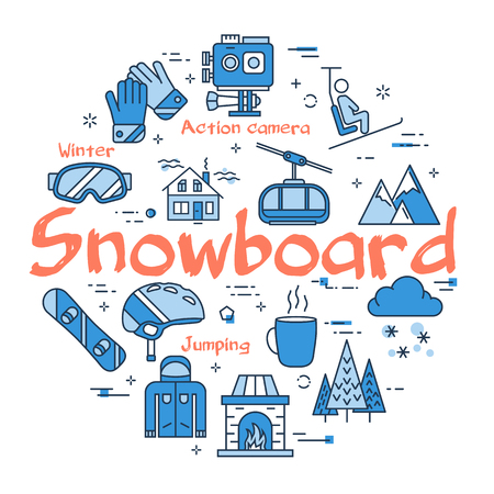 Vector linear blue round concept of Snowboard Sport. Line icons of vacation time, mountain, lift, forest, helmet and other equipment Illustration