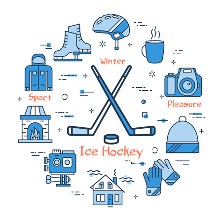 Vector linear blue round concept of Winter Ice Hockey. Line icons of winter outdoor recreation, skiing, ski lifts and mountain holidays
