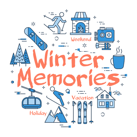 Vector linear blue round concept of Winter Memories. Line icons of winter outdoor recreation, skiing, ski lifts and mountain holidays Illustration