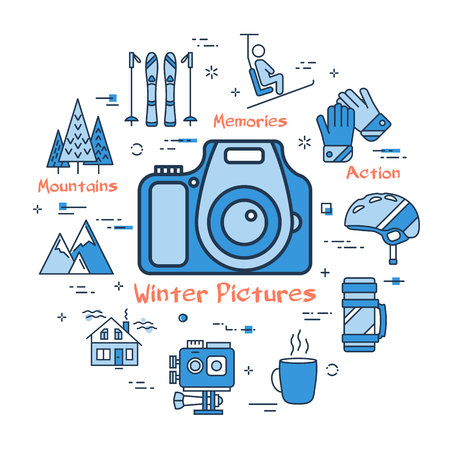Vector linear blue round concept of Winter Pictures - Photo Camera. Line icons of sport activity, snowboarding, helmet, ski, coffee and weeekend house Illustration