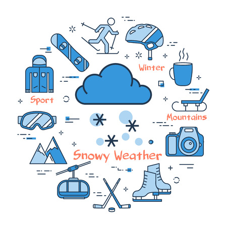Vector linear blue round concept of Winter Snowy Weather. Line icons of winter outdoor recreation, skiing, ski lifts and mountain holidays