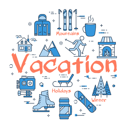 Vector linear blue round concept of Winter Vacation. Line icons of sport activity, rest with family, camera, clothing and mountain Illustration
