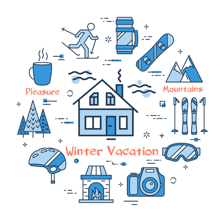 Vector linear blue round concept of Winter Vacation in Mountains. Line icons of Forest House, ski, equipment and fireplace with snowboard Illustration