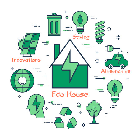 Vector linear green round concept of Eco House. Line icons of home, ecology sign, energy saving lamp bulb, reusing and electrocar Illustration