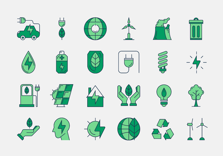 Vector set of 24 green outline icons. Ecology, eco system, future technology of saving resources and clean planet