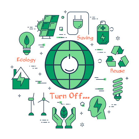 Vector linear green round concept of Turn Light Off. Line icons of globe planet with a switch, battery, light bulb, wind generator, hands and eco symbol