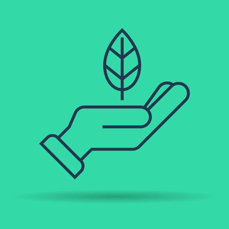 Vector isolated thin line icon of leaf on hand on green background. Linear web pictogram