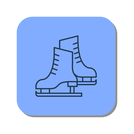 Vector isolated thin line icon of pair of skates for figure skating on blue background. Linear web winter pictogram