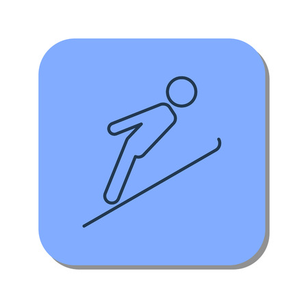 Vector isolated thin line icon of skier jumping from a springboard on blue background. Linear web winter pictogram Illustration