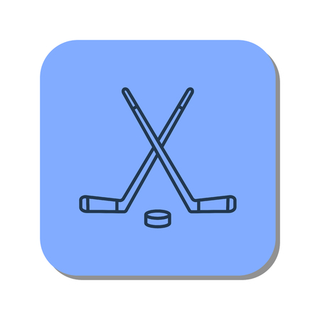 Vector isolated thin line icon of two sticks with a puck for a game of hockey on blue background. Linear winter web pictogram