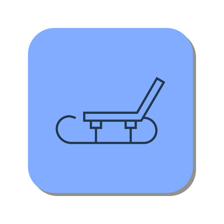 Vector isolated thin line icon of sledge icon for winter skiing in the snow on blue background. Linear web pictogram