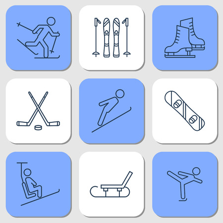 Vector isolated nine thin line icons of winter sport activities on blue background. Skate, ski, snowboard, hockey and sledge. Linear web pictogram