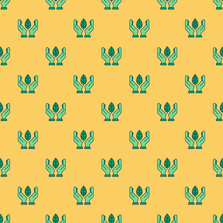 Vector seamless pattern with green hands with leaf on yellow background