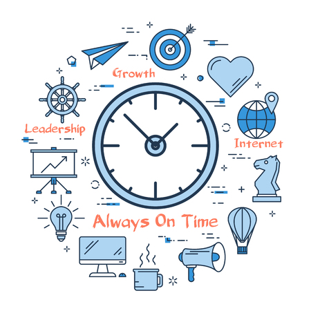 Vector blue right time planning, deadlines, management concept. Clock with linear icons on white background. Round web banner
