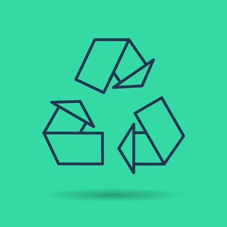 Vector isolated thin line icon of eco reuse symbol on green background. Linear web pictogram