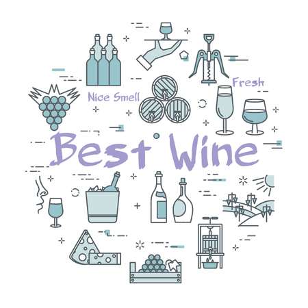 Vector web banner of Best Wine round linear concept. Purple sign in center and wine making and viticulture icon around on white background