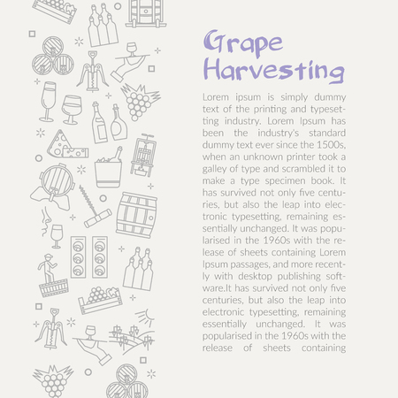Vector illustration with linear icon - Grape Harvesting. Text template for web site on grey background.