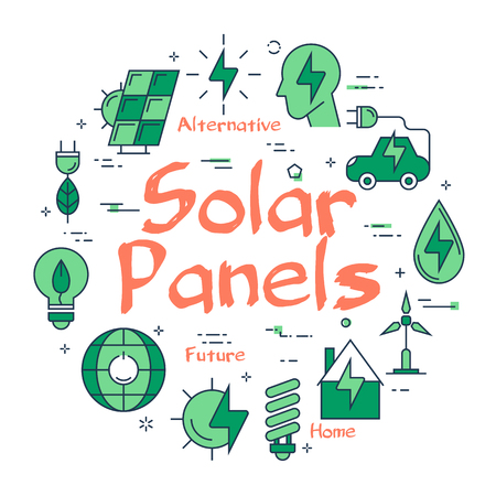 Vector linear green round concept of Eco Solar Panel. Line icons of ecology, alternative sources of nutrition, green spaces and clean water