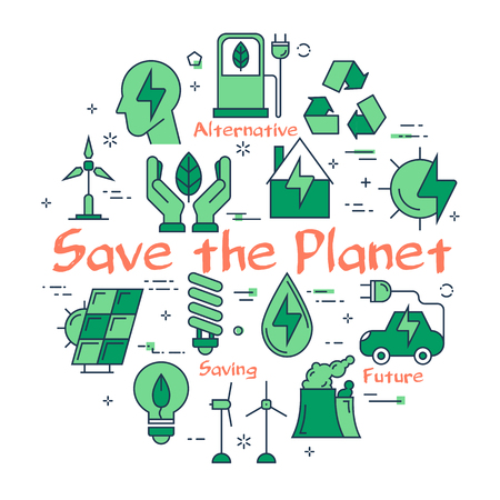 Composed icons in green color for environmentally friendly attitude and planet saving on white background