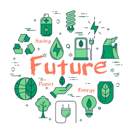 Vector linear green round concept of Clean Planet in future. Line icons of ecology, alternative sources of nutrition, green spaces and clean water