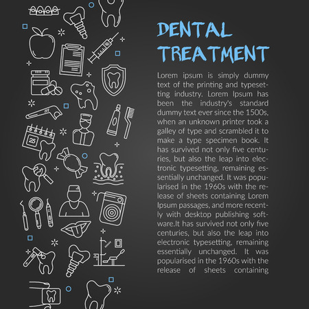 Stylish flat design of small article telling about dental treatment on black background.