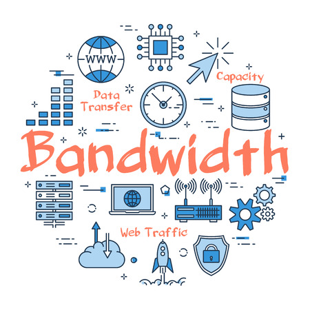 Vector linear blue round concept of Bandwidth. Internet information and outline icons of online technology